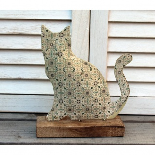 Dekofigur Katze auf Holzsockel