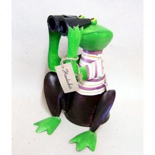 Zaunhocker Frosch mit Fernglas