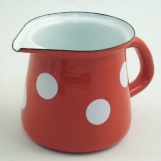 Emaille Milchkännchen rot/weiß m. Deckel