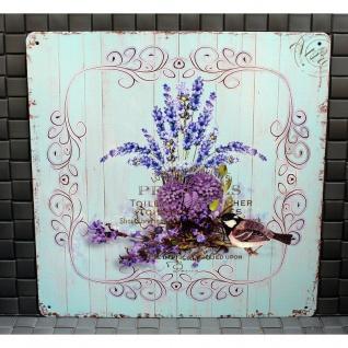 Shabby Blechschild Vogel & Blumen