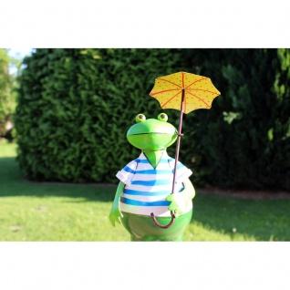 Gartenfigur Frosch Heinz mit Schirm