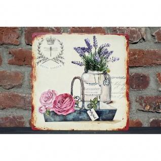 Nostalgie Blechschild Lavendel & Rosen