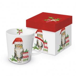 Tasse Henkelbecher Katze Weihnachten