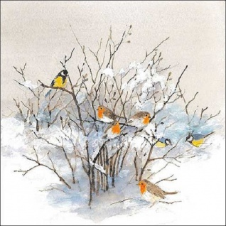 20 Servietten Vögel auf Zweigen