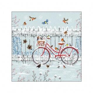 20 Servietten Fahrrad im Schnee