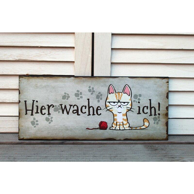 Wandbild Wanddeko Schild 30x13cm Katzen Hier wache ich aus Metall Formano