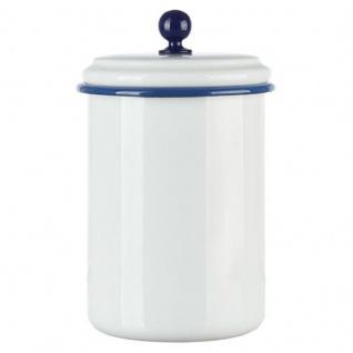 Emaille Vorratsdose weiß/blau