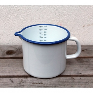 Emaille Milchtopf 1L weiß/blau