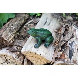 Gartenfigur Frosch antikgrün
