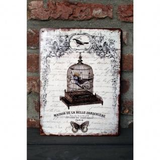 Shabby Blechschild Vogelkäfig Nostalgie