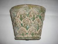 Pflanzgefäß aus Keramik oval mit Ornamenten grün