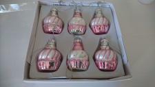 Deko Törtchen mini rosa/weiss glitzer 6er Set Glas 4, 5 cm