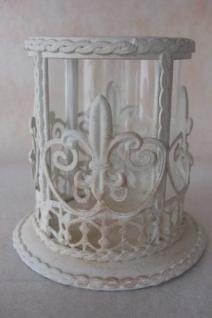 Windlicht mit Ornamenten creme-gewischt 12cm