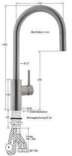 armaturen-HAI Edelstahl Hebelmischer-Spültischbatterie 1/2''