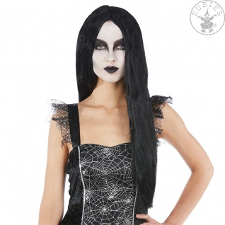 Hexen Perücke Damen, Vampir Gothic Halloween, SCHWARZ, Langhaar glatt 61 cm
