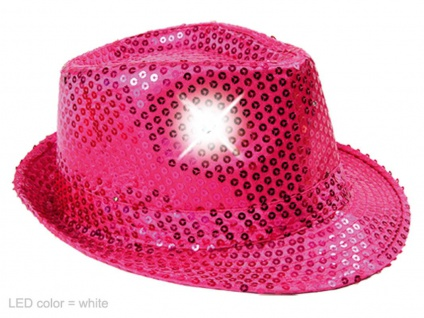 LED Pailletten Glitzer Trilby Hut pink, inkl. Batterien, Silvester