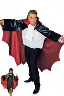 Vampir Cape Umhang schwarz, rot Herren Damen gezackt 136 cm Halloween