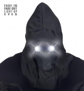 Maske schwarz unsichtbares Gesicht weiße leuchtende Augen Halloween