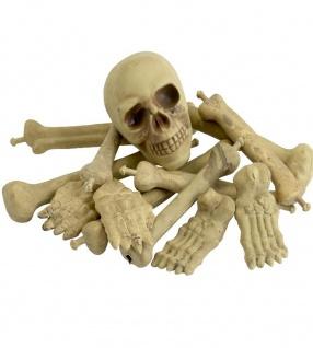 12 tlg. Deko Knochenhaufen u Toten Schädel Halloween Horror