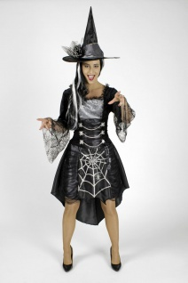 Hexen Spinnen Kostüm + Hut 2 tlg.Damen Halloween Karneval S, M, L