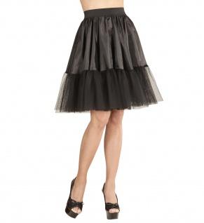 Petticoat Unterrock, knielang, schwarz SatinTüll Tütü Damen 36-40