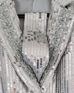 Pailletten Krawatte SILBER zum Binden, Damen, Herren, Silvester, Karneval