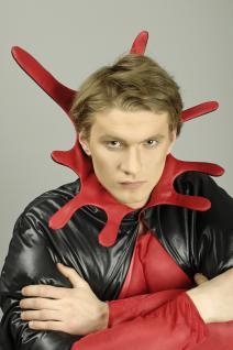 Teufel Umhang Steh Kragen schwarz rot Herren 136 cm Halloween Karneval - Vorschau 3