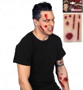 7 x Wunde Narben Set Tattoo, Latex Halloween 8250