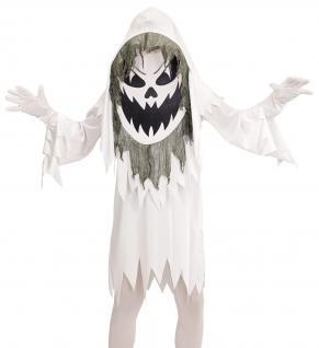 Böser weißer Geist Kostüm Kinder, Tunika, Riesenmaske mit Kapuze Gr. 158