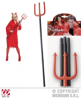 Dreizack, Teufelsgabel, 114 cm, rot-schwarz, Karneval - Vorschau 1