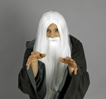 Magier, Zauberer Orks Perücke lang weiß Perücke und Vollbart Karneval