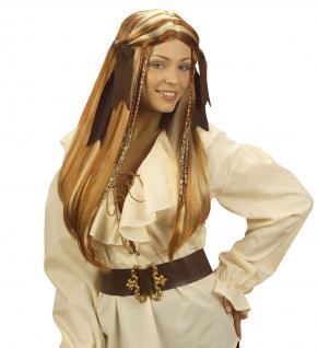 Piraten Perücke mit Zöpfen Piratenfrau braun blond lang Damen