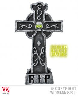 Grabstein RIP Kreuz + grüne LED Augen Horror, Halloween