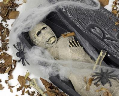 Mumie Sarg + Deko 68, 5 x 22 Totenkopf Leiche Halloween Horror