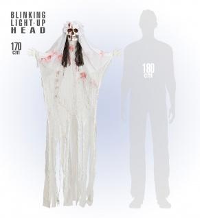 Figur Skelett Lebensgroß Braut Tod Horror 170 cm LED leuchtend Halloween Deko - Vorschau 2