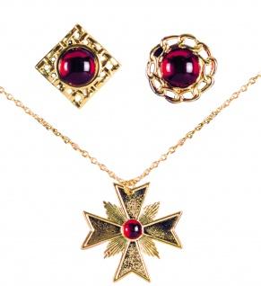 Dracula Vampir Halskette Medallion + 2 Ringe rubin rot, gold Halloween