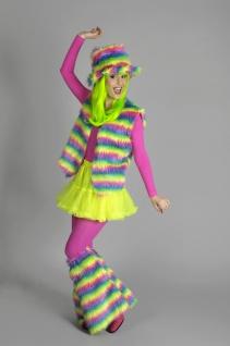 3 tlg Plüschweste, Hut, Stulpen, Hippie Neon Regenbogen Kostüm, Damen