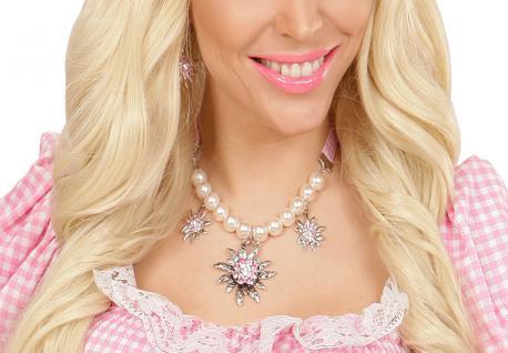 Perlen, Band Trachten Dirndl Kette Band rosa silber, Edelweiß Oktoberfest