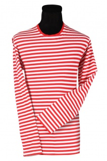 Ringelshirt LANGARM rot weiß Herren T-Shirt Rundhals Gr. L