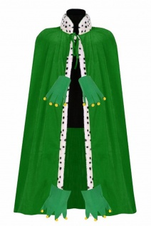 Froschkönig Umhang Cap GRÜN 135 cm Pannesamt Herren Kostüm