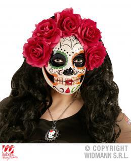 Maske Dia de los Muertos verziert mit Rosen Halloween Damen