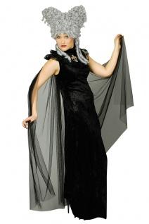 Umhang Vampir Gothic, Spitzen Stehkragen + Kreuz schwarz Damen