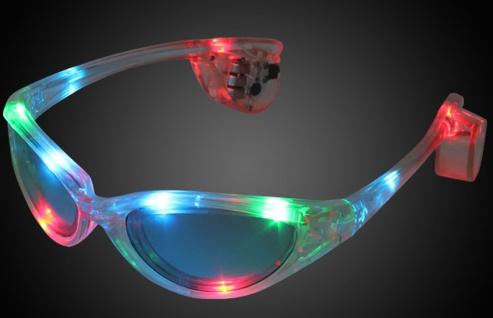 LED Brille bunt transparent multicolor Party Gag Karneval Unisex