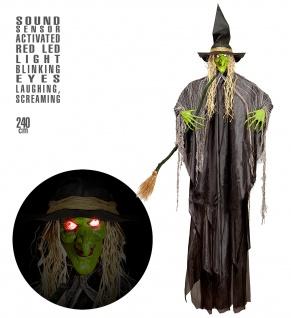 Deko Figur Lebensgroß Hexe 240 cm böse Lache flackernde LED Augen Halloween