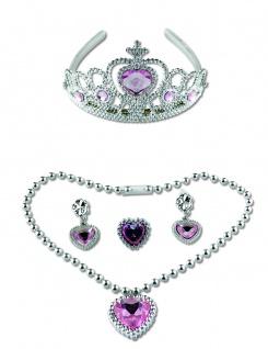 5 tlg. Schmuckset KINDER Prinzessin, Diadem, Kette, Ohrclips, Ring rosa