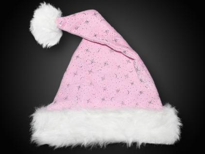 Weihnachtsmütze, Samtstoff, Plüsch Pelzrand Glitzersterne, ROSA Edel