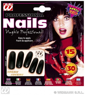 15 EXTRA lange schwarze Nägel, Kunstnägel, Fingernägel 30 Klebelaschen