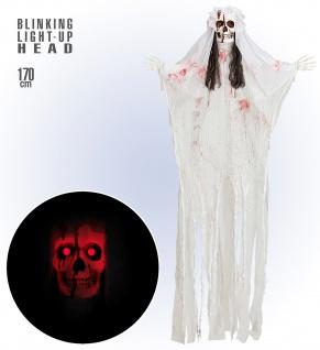 Figur Skelett Lebensgroß Braut Tod Horror 170 cm LED leuchtend Halloween Deko - Vorschau 1