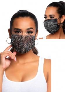 Mund Nase Schutzmaske Gesichtsmaske Maske Damen Strass Glitzer Kristall schwarz