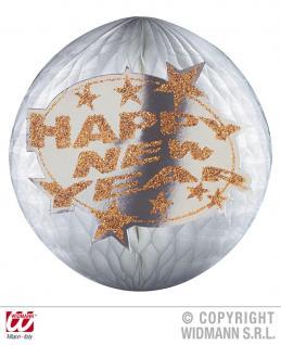 SILVESTER Deko Bienenwabe, Lampion Globus silber HAPPY NEW YEAR